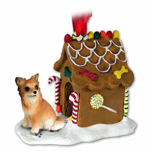 Chihuahua Gingerbread House Christmas Ornament Longhaired