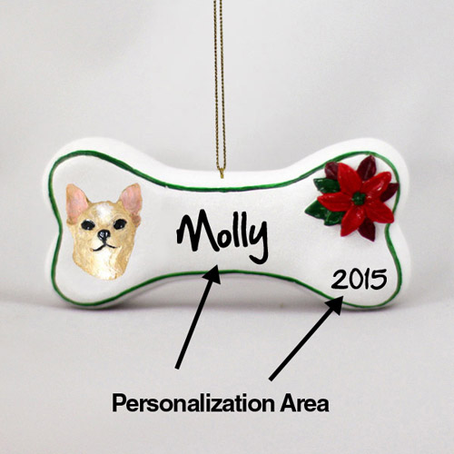 Chihuahua Personalized Dog Bone Christmas Ornament