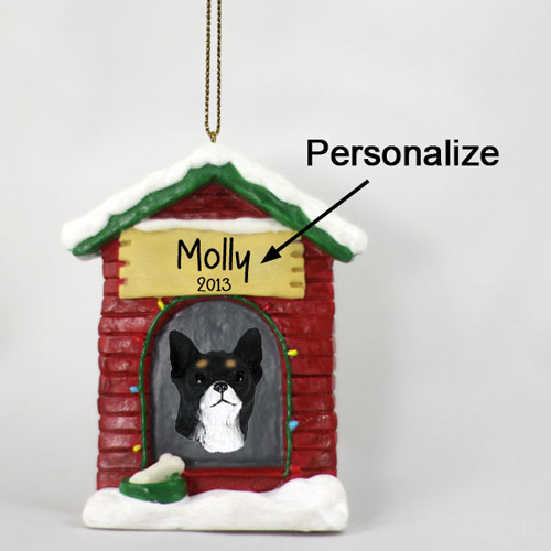 Chihuahua Personalized Dog House Christmas Ornament Black-White