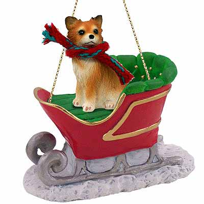 Chihuahua Sleigh Ride Christmas Ornament Longhaired