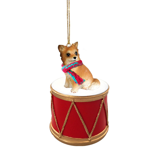 Little Drummer Long Hair Chihuahua Christmas Ornament