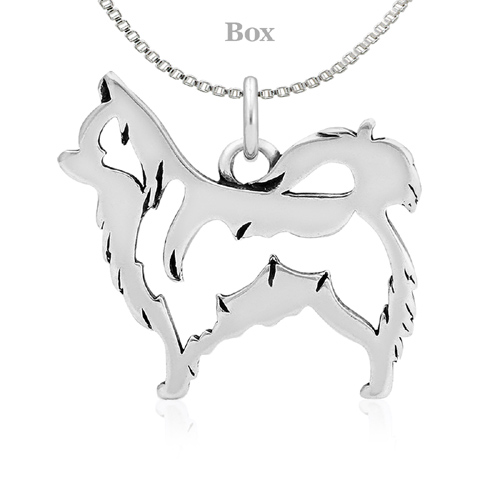 Sterling Silver Chihuahua Long Haired Necklace