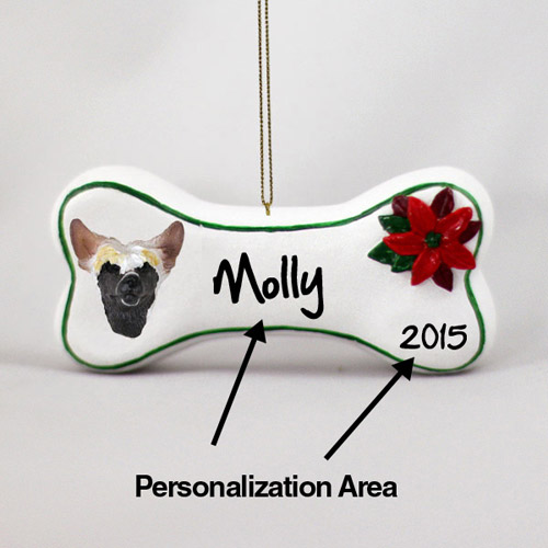 Chinese Crested Personalized Dog Bone Christmas Ornament