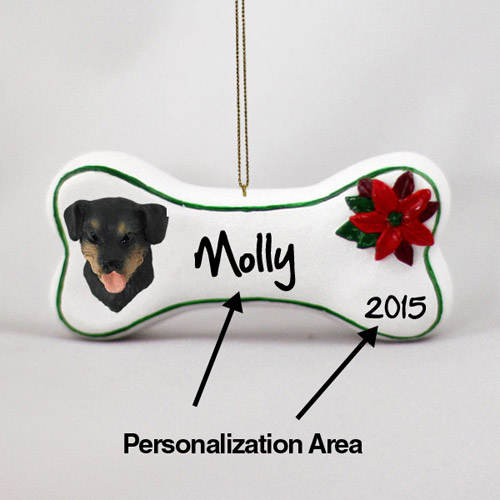 Rottweiler Personalized Dog Bone Christmas Ornament