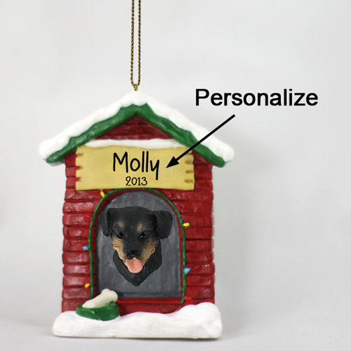 Rottweiler Personalized Dog House Christmas Ornament