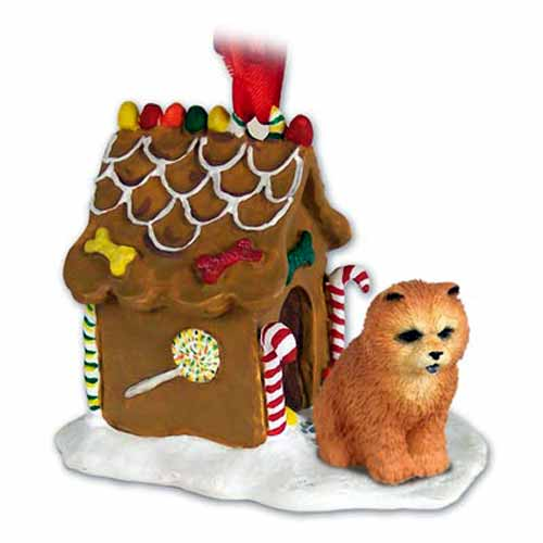 Chow Chow Gingerbread House Christmas Ornament Red