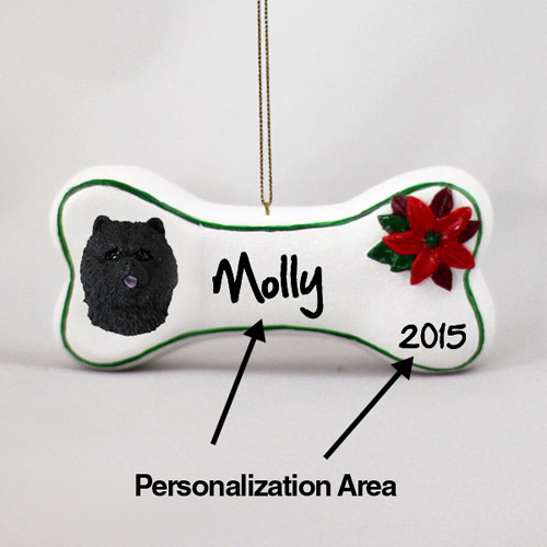 Chow Chow Personalized Dog Bone Christmas Ornament Black
