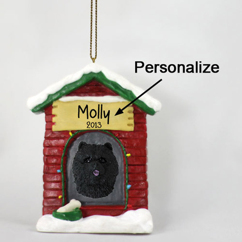 Chow Chow Personalized Dog House Christmas Ornament Black