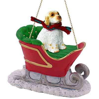 Clumber Spaniel Sleigh Ride Christmas Ornament