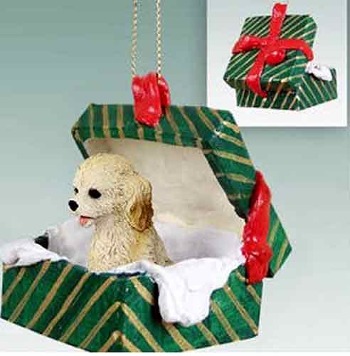Cockapoo Gift Box Christmas Ornament Blonde