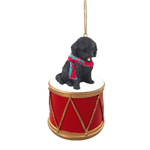 Little Drummer Cockapoo Black Christmas Ornament