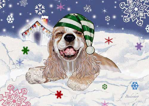 Cocker Spaniel Christmas Cards Snow