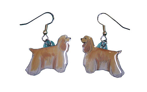 Cocker Spaniel Earrings Blonde Hand Painted Acrylic