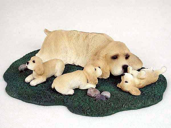 Cocker Spaniel Figurine Buff Mom & Pups