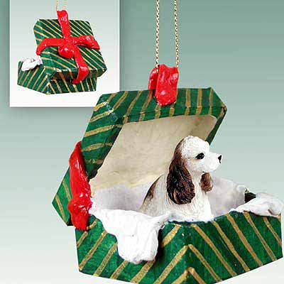 Cocker Spaniel Gift Box Christmas Ornament Brown-White