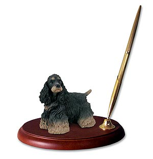 Cocker Spaniel Pen Holder (Black & Tan)