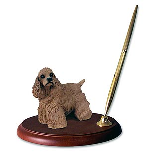 Cocker Spaniel Pen Holder (Brown)