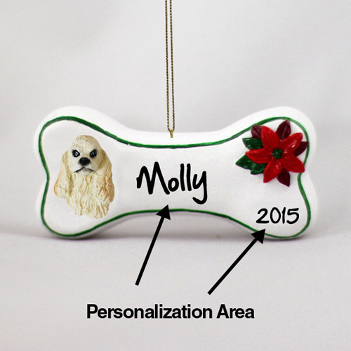 Cocker Spaniel Personalized Dog Bone Christmas Ornament
