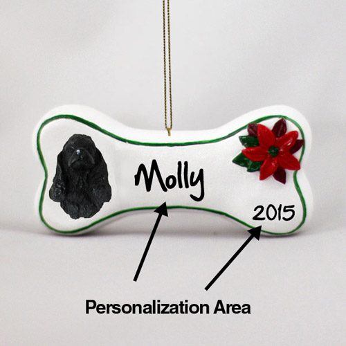 Cocker Spaniel Personalized Dog Bone Christmas Ornament Black