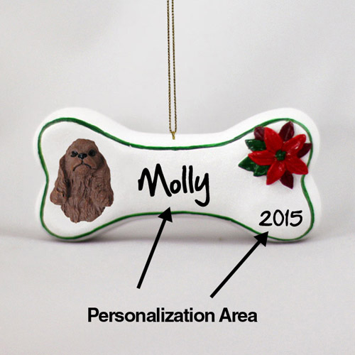 Cocker Spaniel Personalized Dog Bone Christmas Ornament Brown