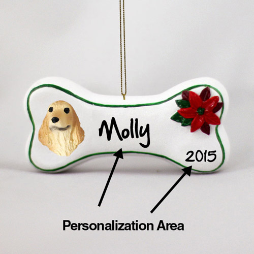 Cocker Spaniel Personalized Dog Bone Christmas Ornament English