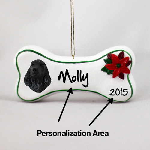 Cocker Spaniel Personalized Dog Bone Christmas Ornament English Black