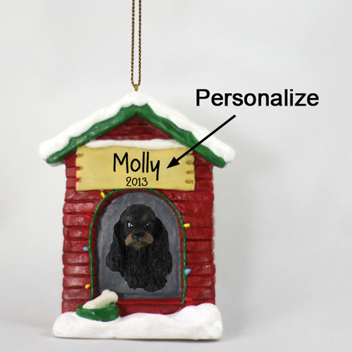 Cocker Spaniel Personalized Dog House Christmas Ornament Black-Tan