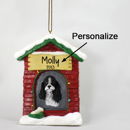 Cocker Spaniel Personalized Dog House Christmas Ornament Black-White
