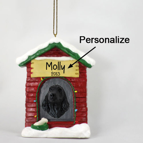 Cocker Spaniel Personalized Dog House Christmas Ornament English Black