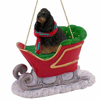 Cocker Spaniel Sleigh Ride Christmas Ornament Black-Tan