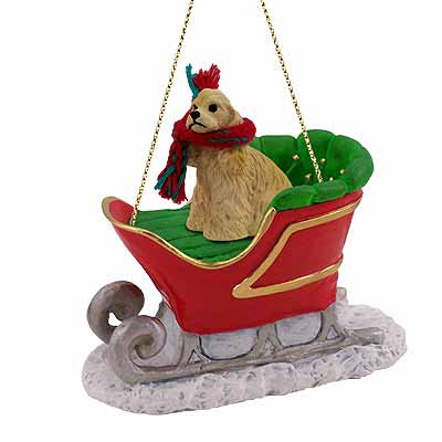 Cocker Spaniel Sleigh Ride Christmas Ornament Blonde