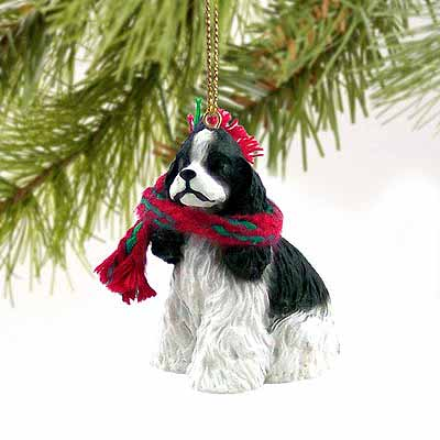 Cocker Spaniel Tiny One Christmas Ornament Black-White