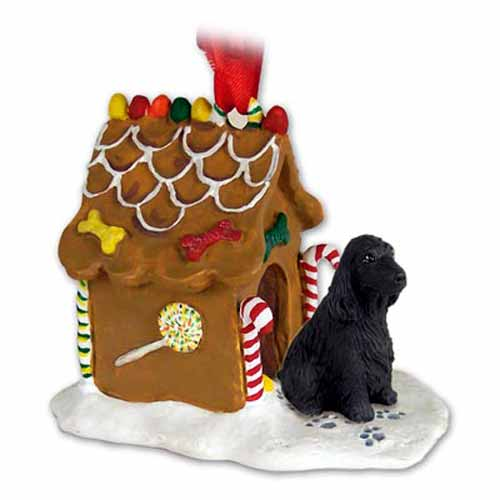 English Cocker Spaniel Gingerbread House Christmas Ornament Black