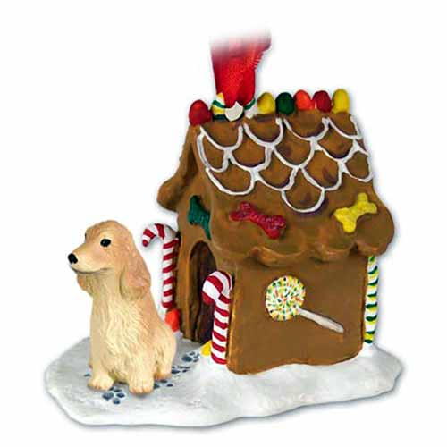 English Cocker Spaniel Gingerbread House Christmas Ornament Blonde