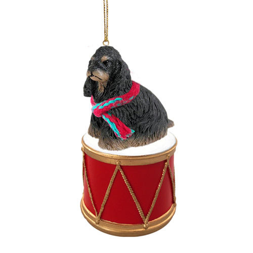 Little Drummer Cocker Spaniel Black-Tan Christmas Ornament