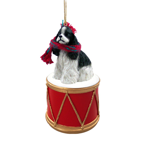 Little Drummer Cocker Spaniel Black-White Christmas Ornament