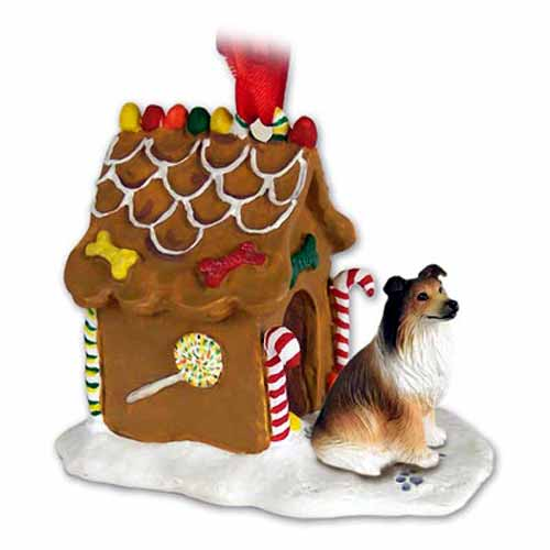 Collie Gingerbread House Christmas Ornament Sable