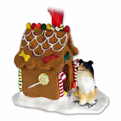 Collie Gingerbread House Christmas Ornament Tricolor