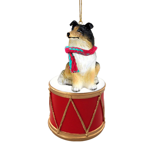 Little Drummer Collie Christmas Ornament