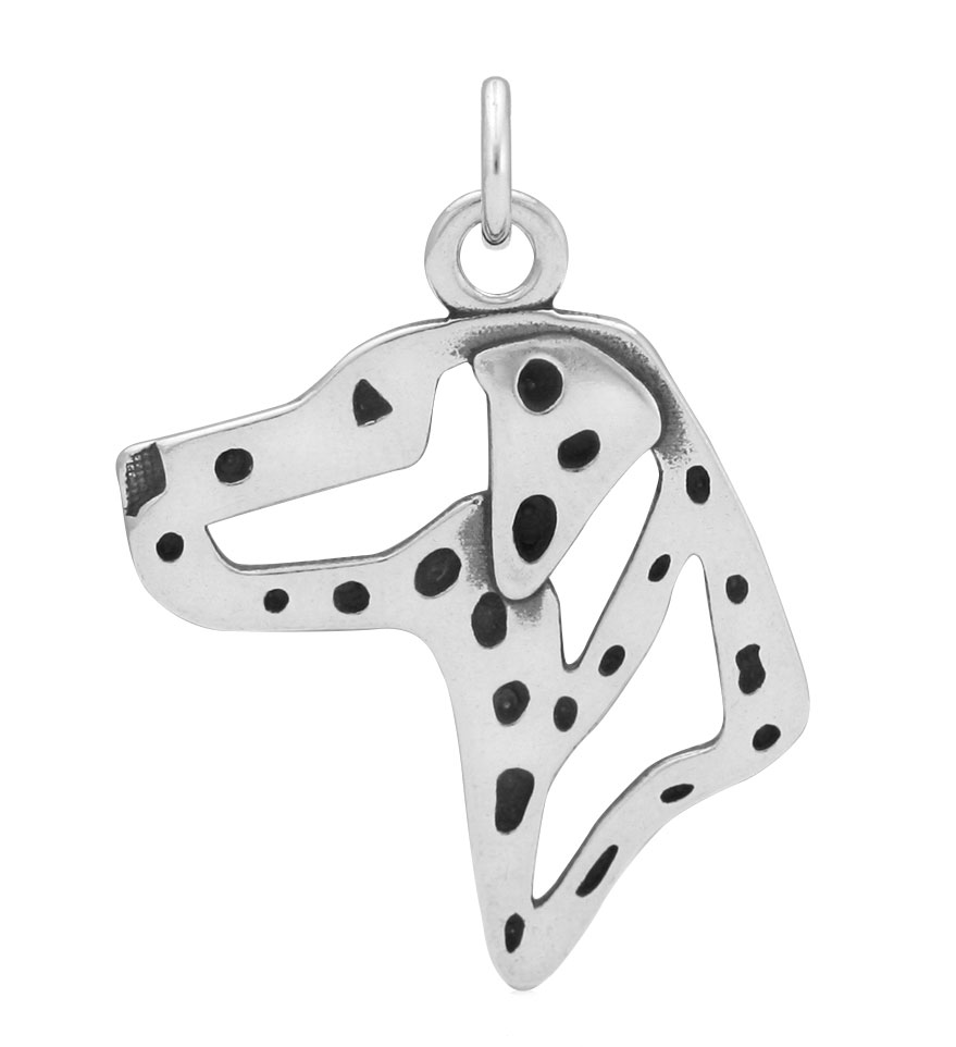 Sterling Silver Dalmatian Head Necklace