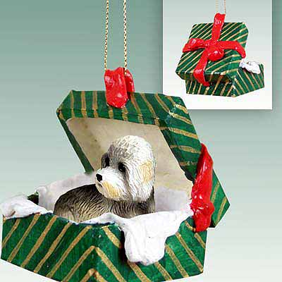 Dandie Dinmont Gift Box Christmas Ornament