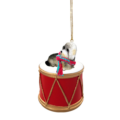 Little Drummer Dandie Dinmont Christmas Ornament