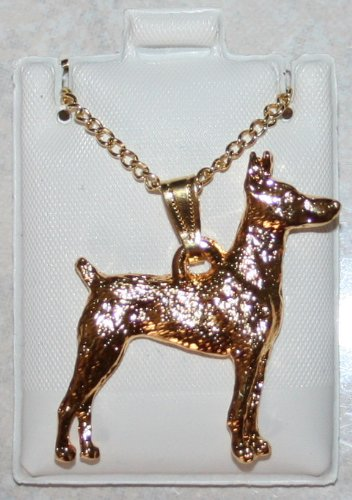 Doberman Pinscher 24K Gold Plated Pendant with Necklace