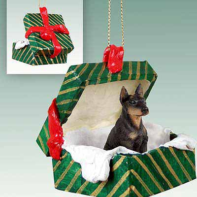 Doberman Pinscher Gift Box Christmas Ornament