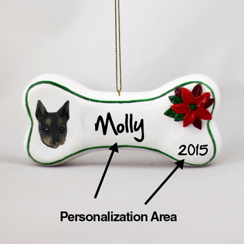 Doberman Pinscher Personalized Dog Bone Christmas Ornament