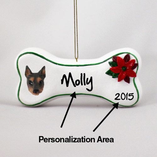 Doberman Pinscher Personalized Dog Bone Christmas Ornament Red