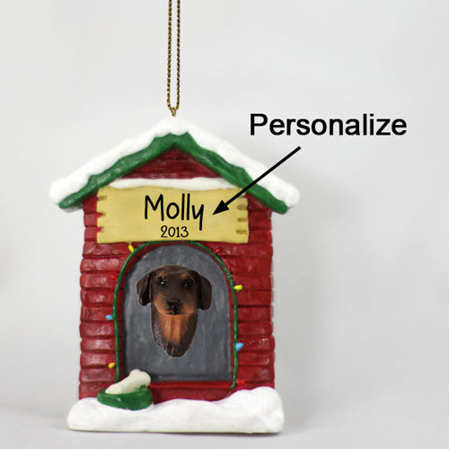 Doberman Pinscher Personalized Dog House Christmas Ornament Red Uncropped