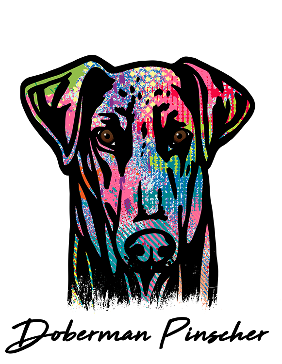 Doberman Pinscher T Shirt Colorful Abstract