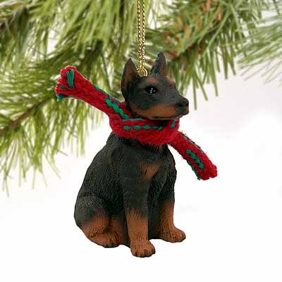 Doberman Pinscher Tiny One Christmas Ornament Red