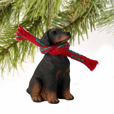 Doberman Pinscher Tiny One Christmas Ornament Red Uncropped